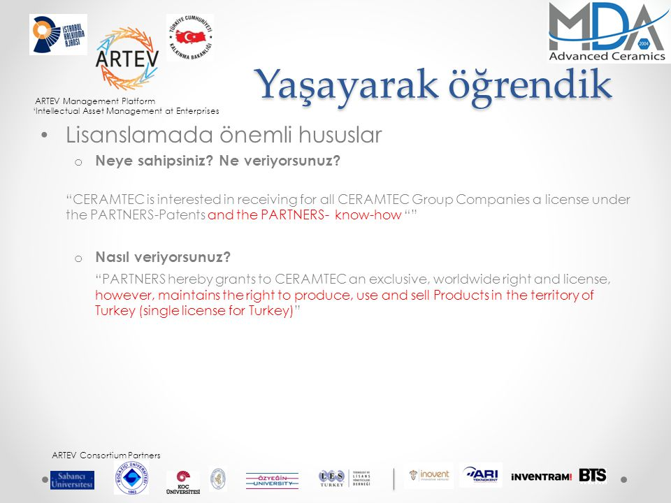 ARTEV Management Platform 'Intellectual Asset Management at Enterprises ARTEV Consortium Partners Yaşayarak öğrendik Lisanslamada önemli hususlar o Neye sahipsiniz.