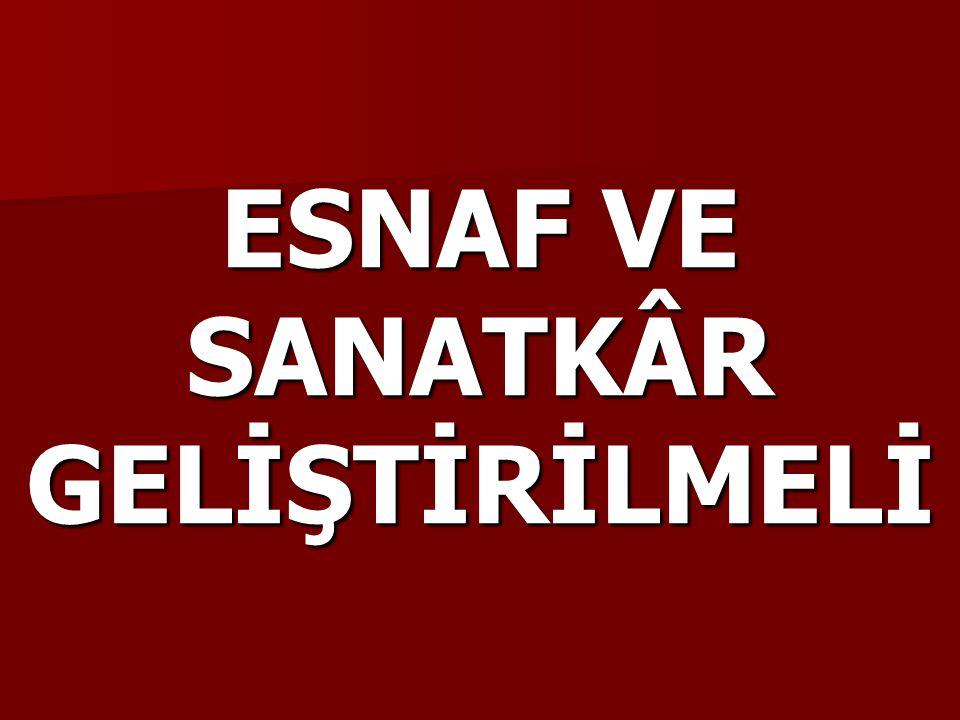 ESNAF VE SANATKÂR GELİŞTİRİLMELİ