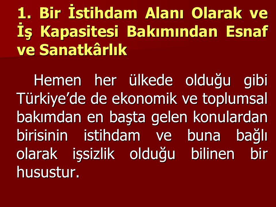 1. Bir İstihdam Alanı Olarak ve İş Kapasitesi Bakımından Esnaf ve Sanatkârlık Hemen her ülkede olduğu gibi Türkiye'de de ekonomik ve toplumsal bakımda