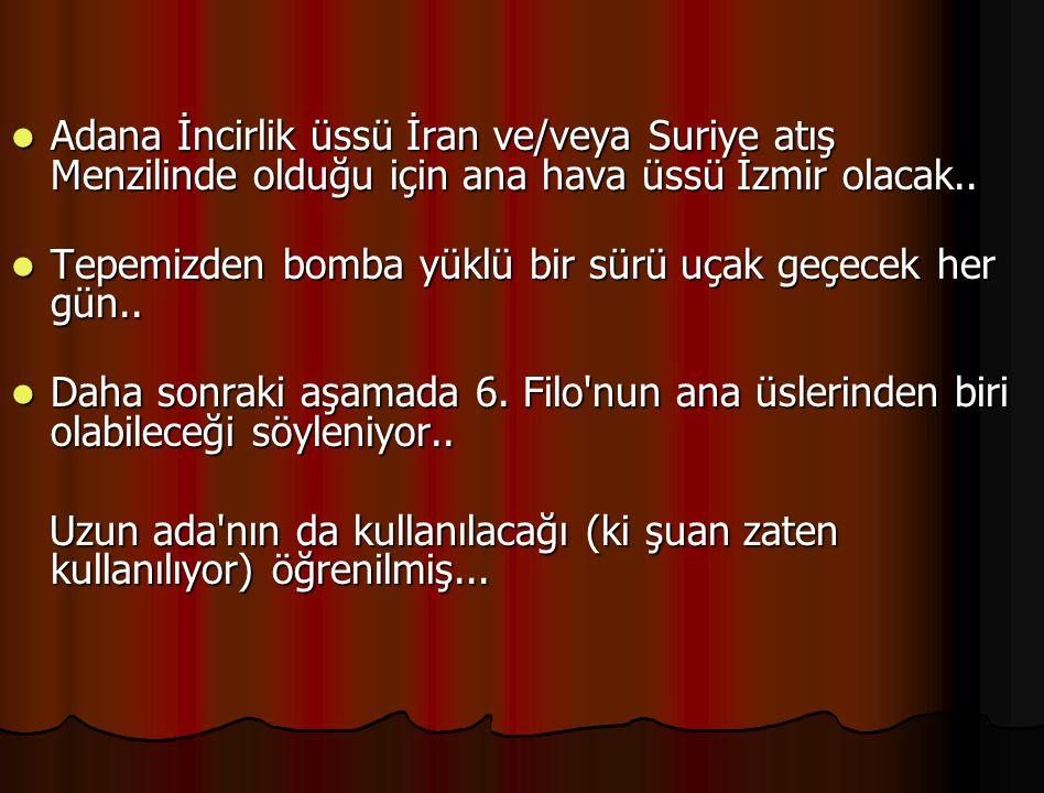 Adana İncirlik üssü İran ve/veya Suriye atış Menzilinde olduğu için ana hava üssü İzmir olacak.. Adana İncirlik üssü İran ve/veya Suriye atış Menzilin