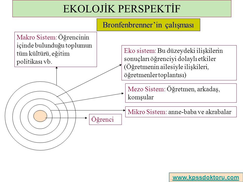 EKOLOJİK PERSPEKTİF Öğrenci Mikro Sistem: anne-baba ve akrabalar Mezo Sistem: Öğretmen, arkadaş, komşular Eko sistem: Bu düzeydeki ilişkilerin sonuçla