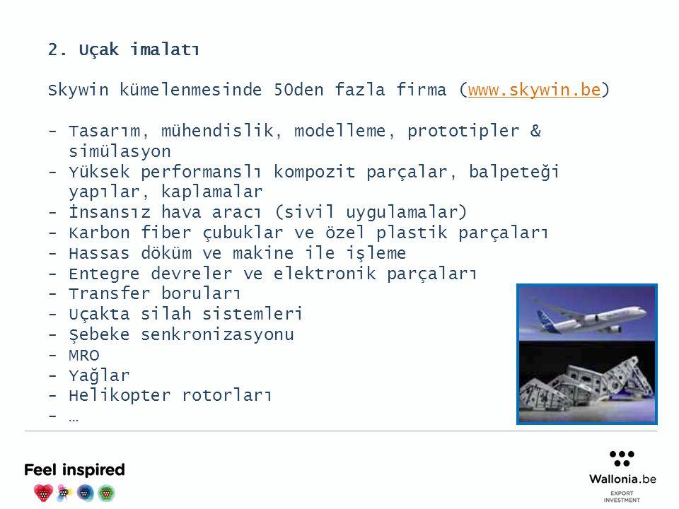 2. Uçak imalatı Skywin kümelenmesinde 50den fazla firma (www.skywin.be)www.skywin.be -Tasarım, mühendislik, modelleme, prototipler & simülasyon -Yükse
