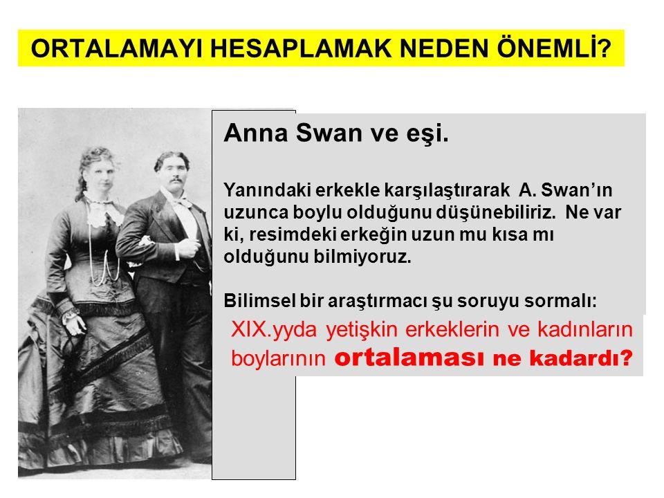 ORTALAMAYI HESAPLAMAK NEDEN ÖNEMLİ? Anna Swan ve eşi. Yanındaki erkekle karşılaştırarak A. Swan'ın uzunca boylu olduğunu düşünebiliriz. Ne var ki, res