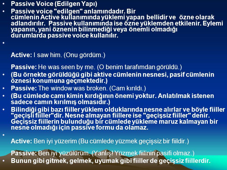 Passive Voice (Edilgen Yapı) Passive voice