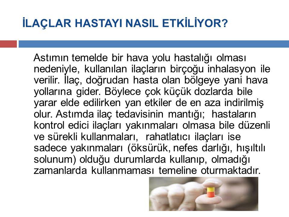 İLAÇLAR HASTAYI NASIL ETKİLİYOR? Astımın temelde bir hava yolu hastalığı olması nedeniyle, kullanılan ilaçların birçoğu inhalasyon ile verilir. İlaç,
