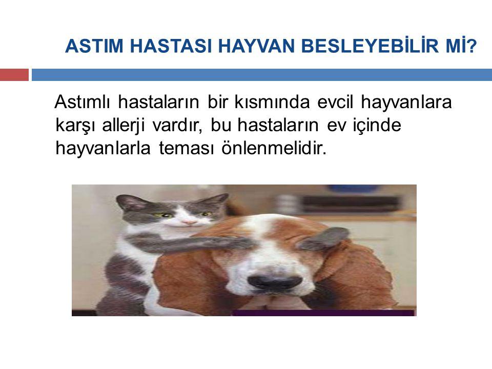 ASTIM HASTASI HAYVAN BESLEYEBİLİR Mİ? Astımlı hastaların bir kısmında evcil hayvanlara karşı allerji vardır, bu hastaların ev içinde hayvanlarla temas