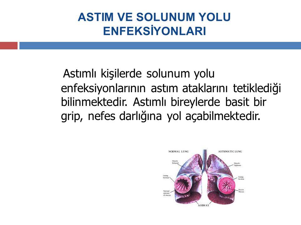 ASTIM VE SOLUNUM YOLU ENFEKSİYONLARI Astımlı kişilerde solunum yolu enfeksiyonlarının astım ataklarını tetiklediği bilinmektedir. Astımlı bireylerde b