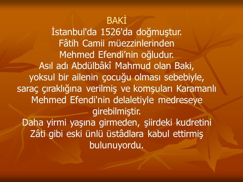 BAKİ İstanbul'da 1526'da doğmuştur. Fâtih Camii müezzinlerinden Mehmed Efendi'nin oğludur. Asıl adı Abdülbâkî Mahmud olan Baki, yoksul bir ailenin çoc
