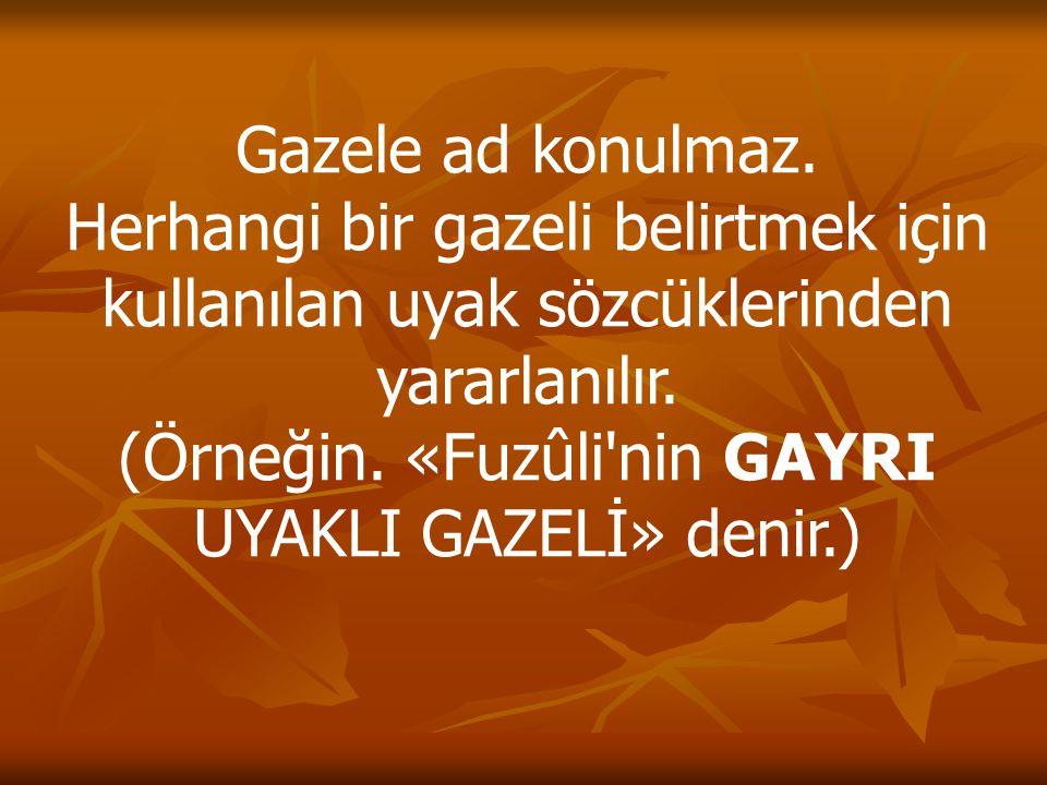 Gazele ad konulmaz. Herhangi bir gazeli belirtmek için kullanılan uyak sözcüklerinden yararlanılır. (Örneğin. «Fuzûli'nin GAYRI UYAKLI GAZELİ» denir.)