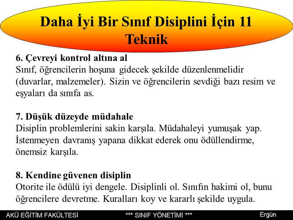 Daha İyi Bir Sınıf Disiplini İçin 11 Teknik 6.