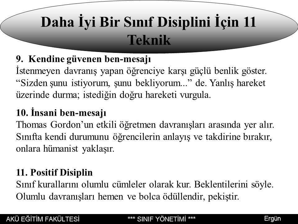 Daha İyi Bir Sınıf Disiplini İçin 11 Teknik 9.