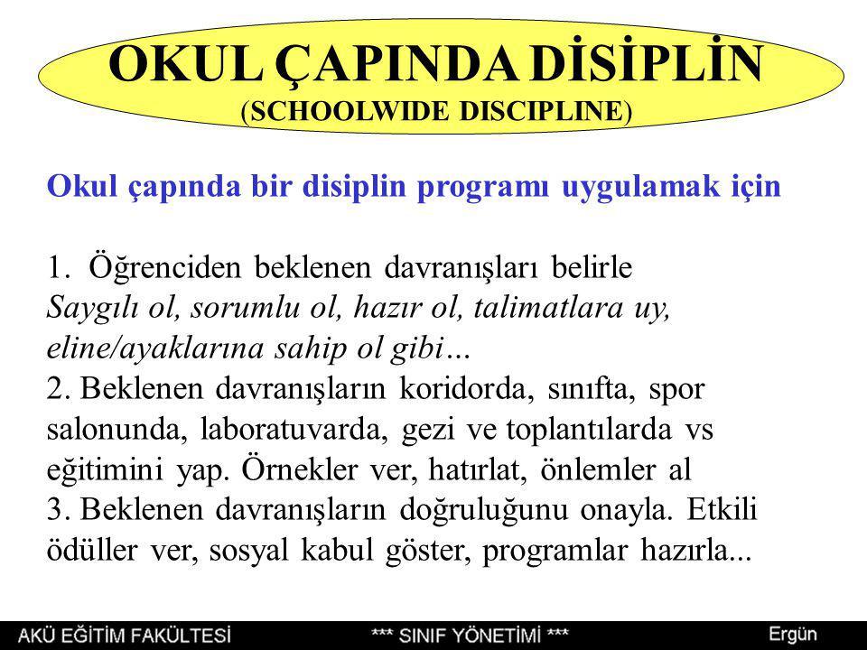 Okul çapında bir disiplin programı uygulamak için 1. Öğrenciden beklenen davranışları belirle Saygılı ol, sorumlu ol, hazır ol, talimatlara uy, eline/