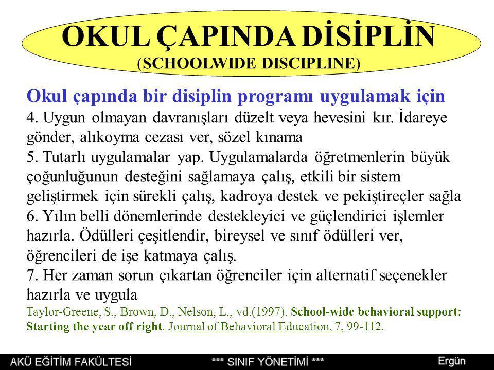 Okul çapında bir disiplin programı uygulamak için 4. Uygun olmayan davranışları düzelt veya hevesini kır. İdareye gönder, alıkoyma cezası ver, sözel k