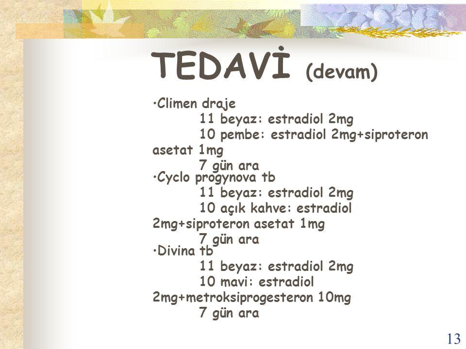 13 TEDAVİ (devam) Climen draje 11 beyaz: estradiol 2mg 10 pembe: estradiol 2mg+siproteron asetat 1mg 7 gün ara Cyclo progynova tb 11 beyaz: estradiol