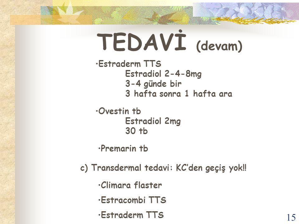 15 TEDAVİ (devam) Estraderm TTS Estradiol 2-4-8mg 3-4 günde bir 3 hafta sonra 1 hafta ara Ovestin tb Estradiol 2mg 30 tb Premarin tb c) Transdermal te
