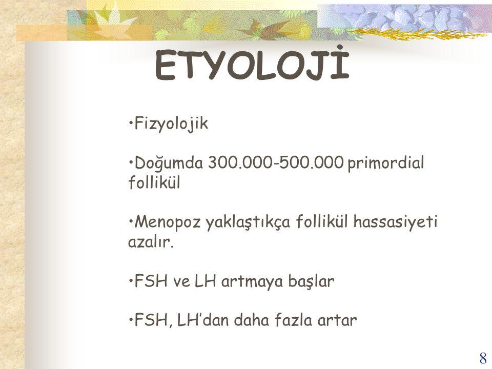 8 ETYOLOJİ Fizyolojik Doğumda 300.000-500.000 primordial follikül Menopoz yaklaştıkça follikül hassasiyeti azalır. FSH ve LH artmaya başlar FSH, LH'da