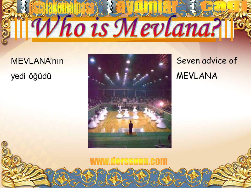 Seven advice of MEVLANA MEVLANA'nın yedi öğüdü
