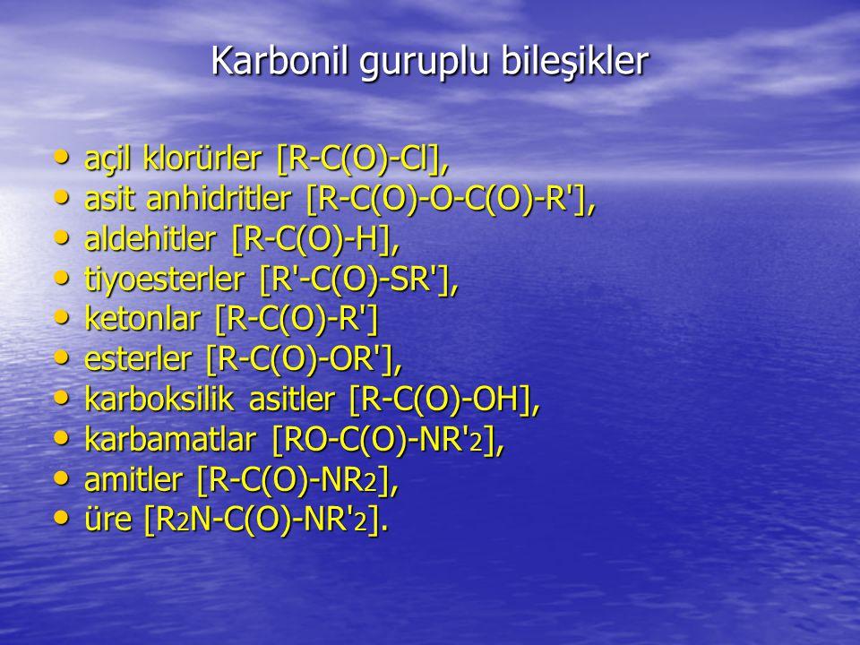 Karbonil guruplu bileşikler açil klorürler [R-C(O)-Cl], açil klorürler [R-C(O)-Cl], asit anhidritler [R-C(O)-O-C(O)-R ], asit anhidritler [R-C(O)-O-C(O)-R ], aldehitler [R-C(O)-H], aldehitler [R-C(O)-H], tiyoesterler [R -C(O)-SR ], tiyoesterler [R -C(O)-SR ], ketonlar [R-C(O)-R ] ketonlar [R-C(O)-R ] esterler [R-C(O)-OR ], esterler [R-C(O)-OR ], karboksilik asitler [R-C(O)-OH], karboksilik asitler [R-C(O)-OH], karbamatlar [RO-C(O)-NR 2 ], karbamatlar [RO-C(O)-NR 2 ], amitler [R-C(O)-NR 2 ], amitler [R-C(O)-NR 2 ], üre [R 2 N-C(O)-NR 2 ].