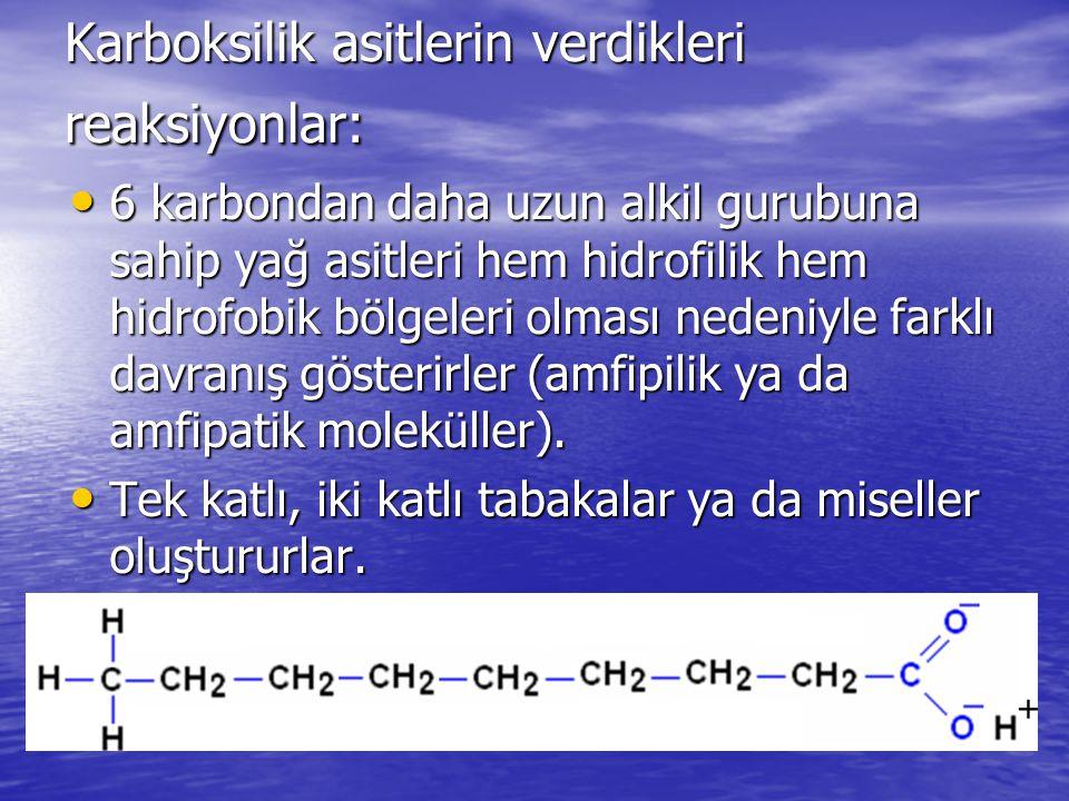 Karboksilik asitlerin verdikleri reaksiyonlar: 6 karbondan daha uzun alkil gurubuna sahip yağ asitleri hem hidrofilik hem hidrofobik bölgeleri olması nedeniyle farklı davranış gösterirler (amfipilik ya da amfipatik moleküller).