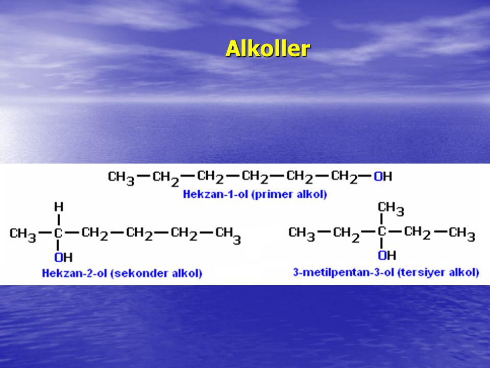Alkoller Molekülde bulunan farklı yan guruplara karşın molekül alkol fiziksel ve kimyasal özellikleri gösteriyorsa –ol eki molekülün sonuna yazılır.