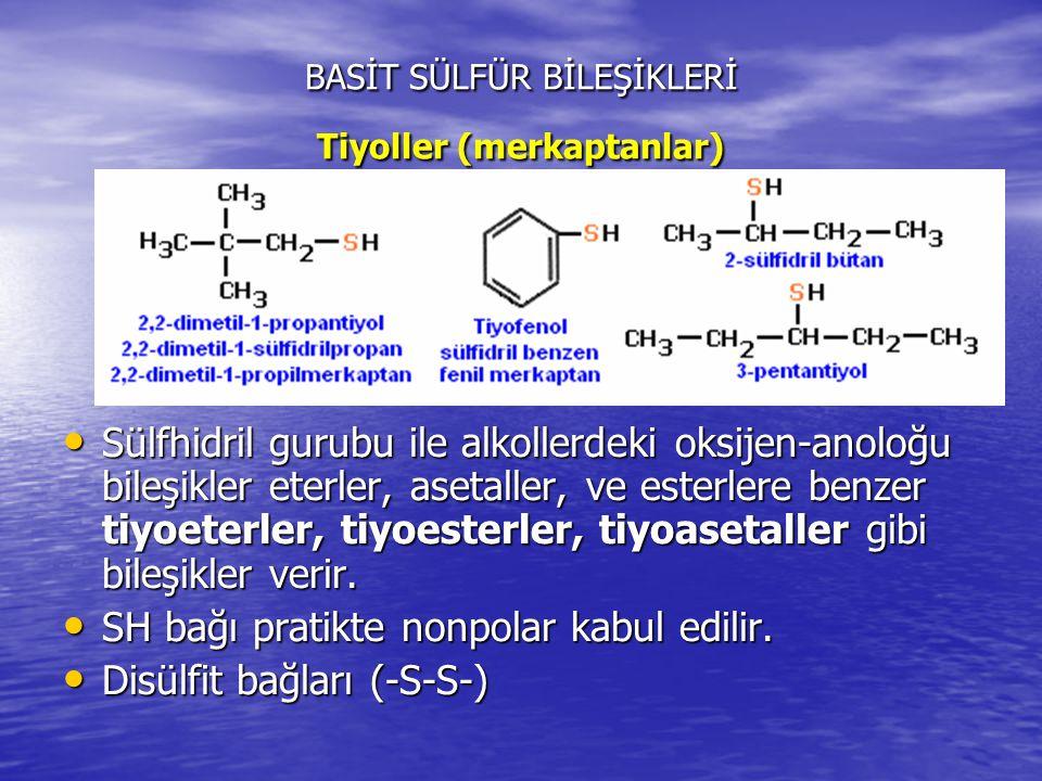 BASİT SÜLFÜR BİLEŞİKLERİ Tiyoller (merkaptanlar) Sülfhidril gurubu ile alkollerdeki oksijen-anoloğu bileşikler eterler, asetaller, ve esterlere benzer tiyoeterler, tiyoesterler, tiyoasetaller gibi bileşikler verir.