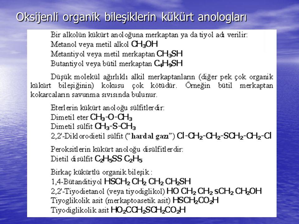 Oksijenli organik bileşiklerin kükürt anologları