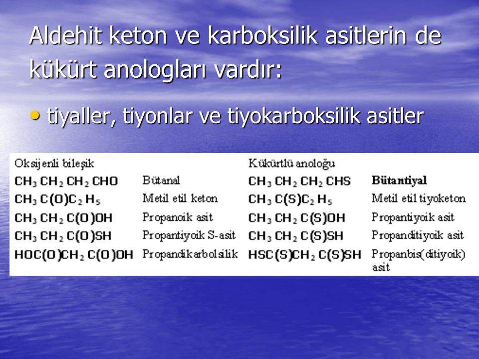 Aldehit keton ve karboksilik asitlerin de kükürt anologları vardır: tiyaller, tiyonlar ve tiyokarboksilik asitler tiyaller, tiyonlar ve tiyokarboksilik asitler