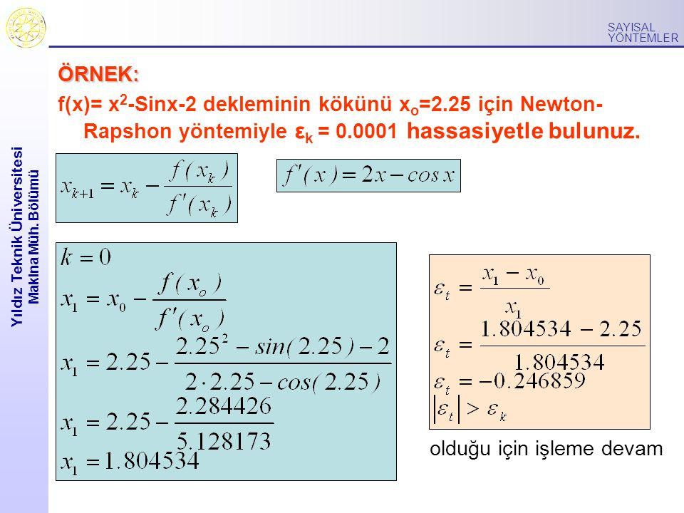 Yıldız Teknik Üniversitesi Makina Müh. Bölümü SAYISAL YÖNTEMLER ÖRNEK: f(x)= x 2 -Sinx-2 dekleminin kökünü x o =2.25 için Newton- Rapshon yöntemiyle ε