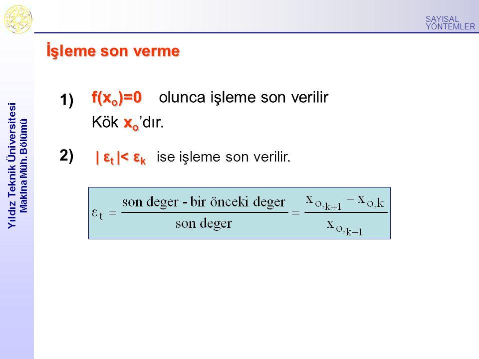 Yıldız Teknik Üniversitesi Makina Müh. Bölümü SAYISAL YÖNTEMLER İşleme son verme f(x o )=0 f(x o )=0 olunca işleme son verilir x o Kök x o 'dır. 1) 2)