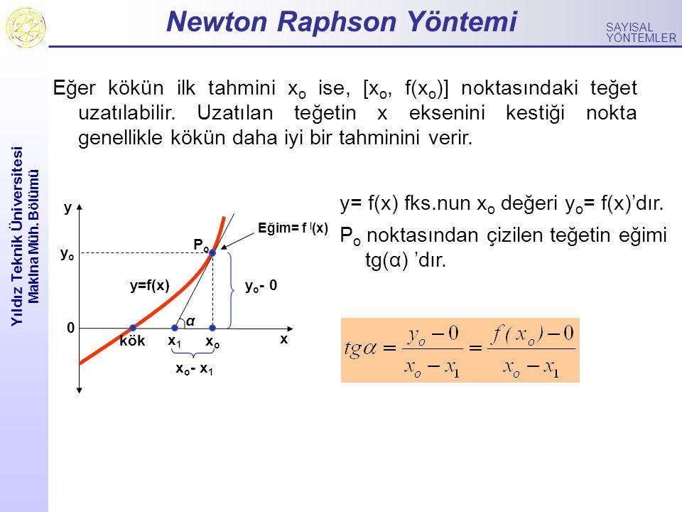 Yıldız Teknik Üniversitesi Makina Müh. Bölümü SAYISAL YÖNTEMLER Newton Raphson Yöntemi Eğer kökün ilk tahmini x o ise, [x o, f(x o )] noktasındaki teğ