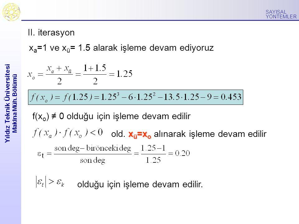 Yıldız Teknik Üniversitesi Makina Müh. Bölümü SAYISAL YÖNTEMLER x a =1 ve x ü = 1.5 alarak işleme devam ediyoruz f(x o ) ≠ 0 olduğu için işleme devam