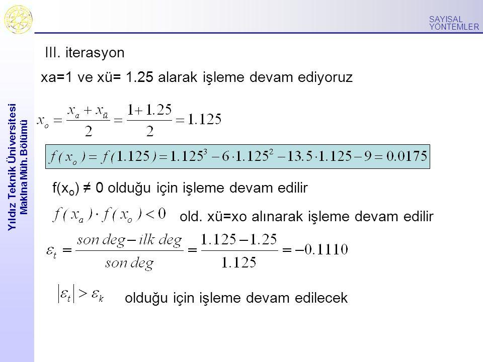 Yıldız Teknik Üniversitesi Makina Müh. Bölümü SAYISAL YÖNTEMLER xa=1 ve xü= 1.25 alarak işleme devam ediyoruz f(x o ) ≠ 0 olduğu için işleme devam edi