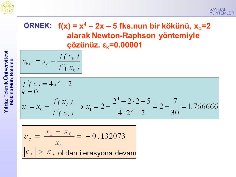 Yıldız Teknik Üniversitesi Makina Müh. Bölümü SAYISAL YÖNTEMLER f(x) = x 4 – 2x – 5 fks.nun bir kökünü, x o =2 alarak Newton-Raphson yöntemiyle çözünü