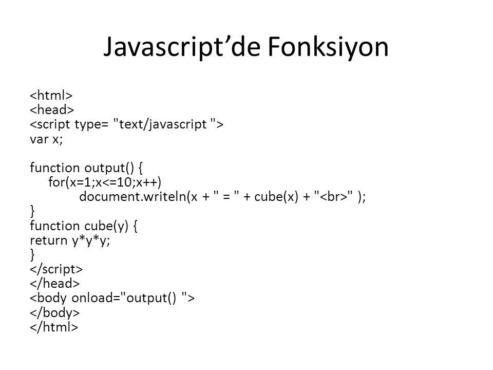 Javascript'de Fonksiyon var x; function output() { for(x=1;x<=10;x++) document.writeln(x + = + cube(x) + ); } function cube(y) { return y*y*y; }