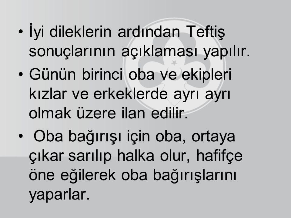 """""""Tekmil"""" komutundan, İstiklal marşının bitimine kadar hiçbir şarkı söylenmez, oyun oynanmaz. Nöbetçi lider """"Teşekkür ederim"""" sözleri ile iyi dilekleri"""