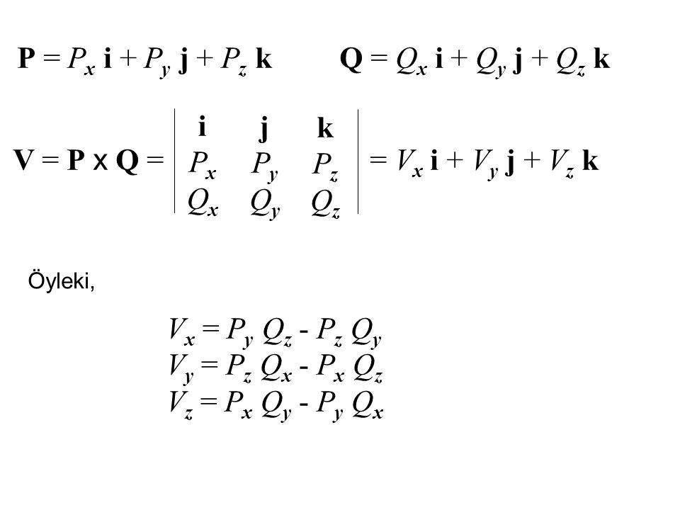 P = P x i + P y j + P z k Q = Q x i + Q y j + Q z k V = P x Q = iPxQxiPxQx jPyQyjPyQy kPzQzkPzQz = V x i + V y j + V z k Öyleki, V x = P y Q z - P z Q y V y = P z Q x - P x Q z V z = P x Q y - P y Q x