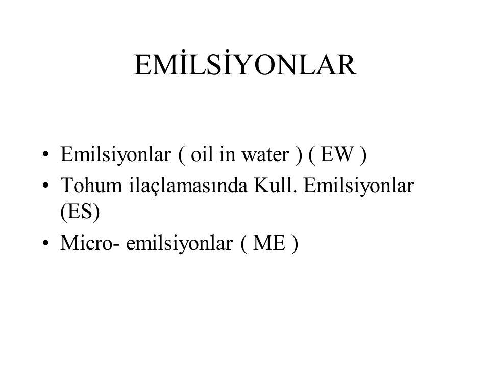 EMİLSİYONLAR Emilsiyonlar ( oil in water ) ( EW ) Tohum ilaçlamasında Kull. Emilsiyonlar (ES) Micro- emilsiyonlar ( ME )