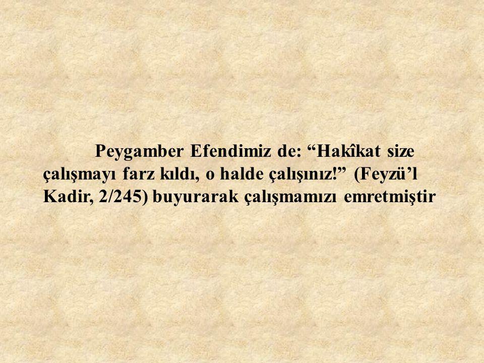 """Peygamber Efendimiz de: """"Hakîkat size çalışmayı farz kıldı, o halde çalışınız!"""" (Feyzü'l Kadir, 2/245) buyurarak çalışmamızı emretmiştir"""