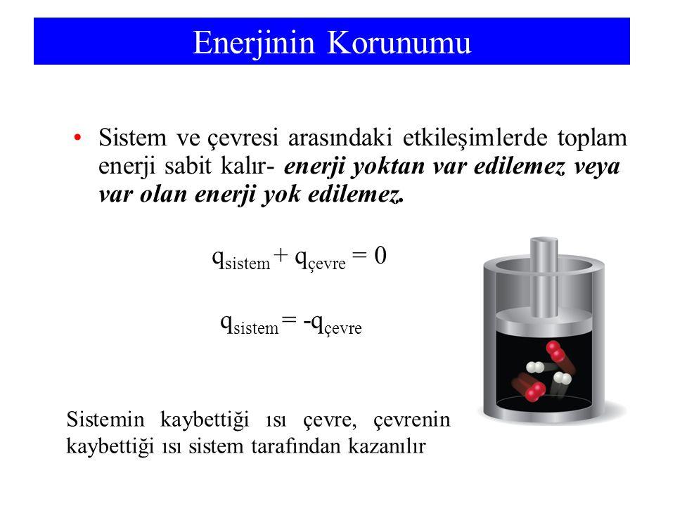 Enerjinin Korunumu Sistem ve çevresi arasındaki etkileşimlerde toplam enerji sabit kalır- enerji yoktan var edilemez veya var olan enerji yok edilemez