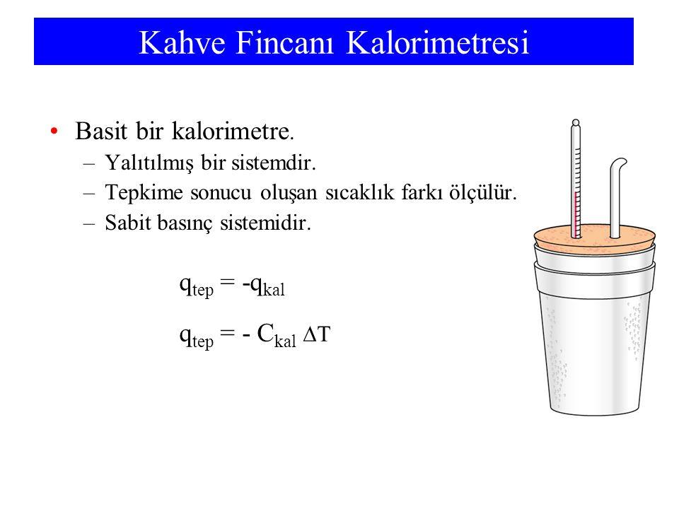 Kahve Fincanı Kalorimetresi Basit bir kalorimetre. –Yalıtılmış bir sistemdir. –Tepkime sonucu oluşan sıcaklık farkı ölçülür. –Sabit basınç sistemidir.