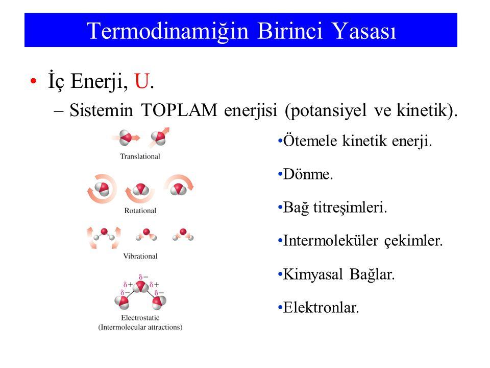 Termodinamiğin Birinci Yasası İç Enerji, U. –Sistemin TOPLAM enerjisi (potansiyel ve kinetik). Ötemele kinetik enerji. Dönme. Bağ titreşimleri. Interm