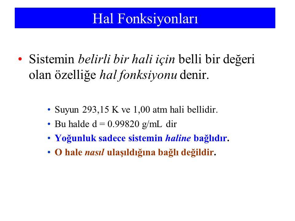 Hal Fonksiyonları Sistemin belirli bir hali için belli bir değeri olan özelliğe hal fonksiyonu denir. Suyun 293,15 K ve 1,00 atm hali bellidir. Bu hal