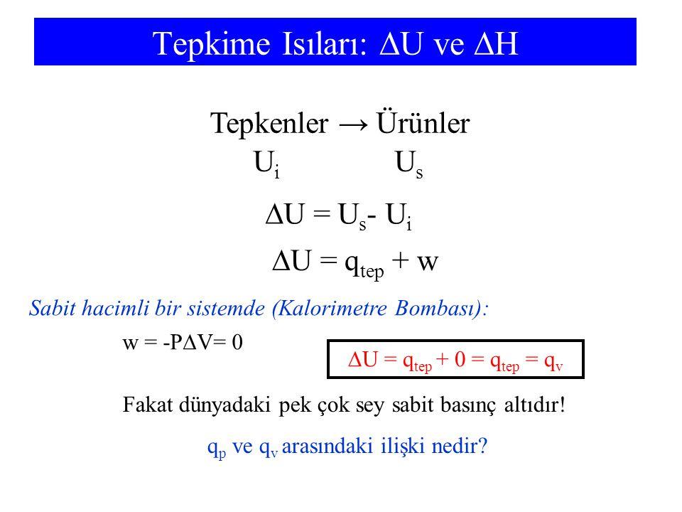 Tepkime Isıları:  U ve  H Tepkenler → Ürünler U i U s  U = U s - U i  U = q tep + w Sabit hacimli bir sistemde (Kalorimetre Bombası):  U = q tep