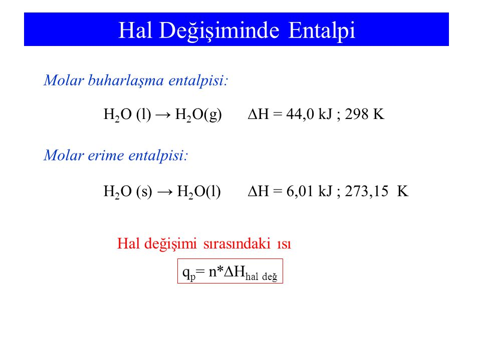 Hal Değişiminde Entalpi H 2 O (l) → H 2 O(g)  H = 44,0 kJ ; 298 K Molar buharlaşma entalpisi: Molar erime entalpisi: H 2 O (s) → H 2 O(l)  H = 6,01