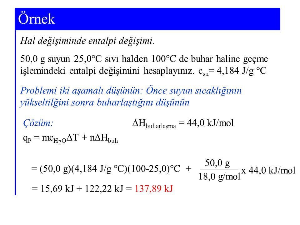 Example 7-3 Örnek Problemi iki aşamalı düşünün: Önce suyun sıcaklığının yükseltilğini sonra buharlaştığını düşünün Hal değişiminde entalpi değişimi. 5