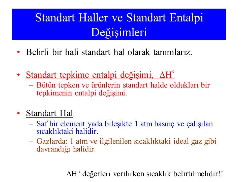 Standart Haller ve Standart Entalpi Değişimleri Belirli bir hali standart hal olarak tanımlarız. Standart tepkime entalpi değişimi,  H ° –Bütün tepke