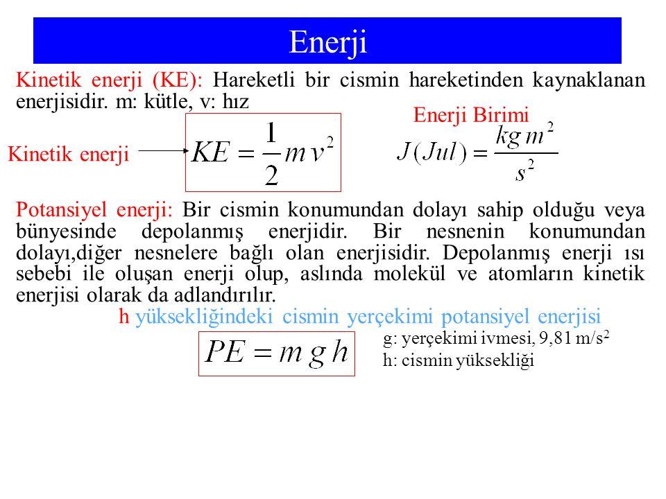 Enerji Kinetik enerji (KE): Hareketli bir cismin hareketinden kaynaklanan enerjisidir. m: kütle, v: hız Enerji Birimi Kinetik enerji Potansiyel enerji