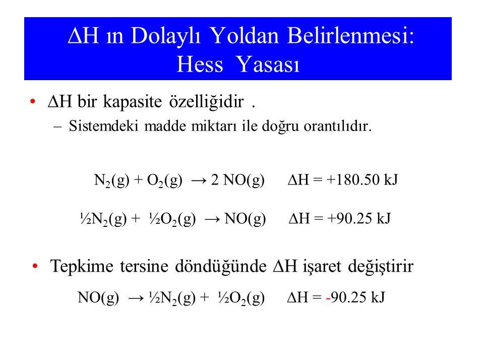  H ın Dolaylı Yoldan Belirlenmesi: Hess Yasası  H bir kapasite özelliğidir. –Sistemdeki madde miktarı ile doğru orantılıdır. N 2 (g) + O 2 (g) → 2 N