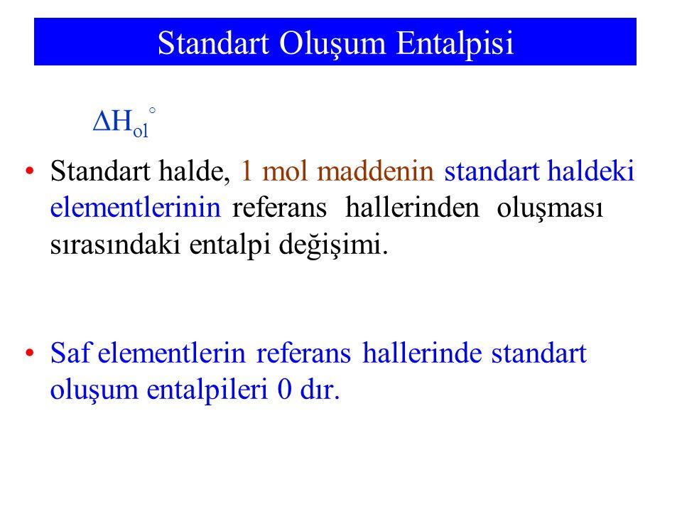 Standart halde, 1 mol maddenin standart haldeki elementlerinin referans hallerinden oluşması sırasındaki entalpi değişimi. Saf elementlerin referans h