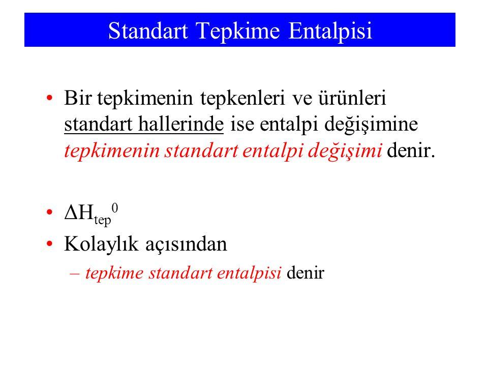 Standart Tepkime Entalpisi Bir tepkimenin tepkenleri ve ürünleri standart hallerinde ise entalpi değişimine tepkimenin standart entalpi değişimi denir